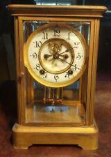 Antique Ansonia Brass Mantle Clock Pendulum/Glass With Key Runs damaged case