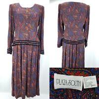 vtg Plaza South Womens 10 Madras Paisley Velvet Trim Pleated Long Modest Dress