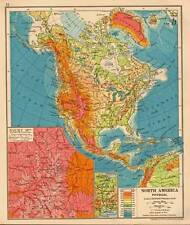 North America Physical 1930 Original Antique Map Rocky Mountains