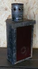 Ancienne Lanterne Lampe à Bougie Verre Rouge avec poignée genre calèche