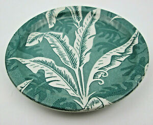 "Vintage Tepco Green Palm / Banana Leaf / Shadow Leaf Plate 7 1/4"" UTENSIL MARKS"
