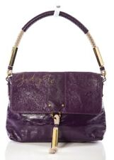 Tory Burch Purple Crinkled Patent Leather Rope Accents Shoulder Bag