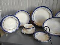 62 Pc Flow Blue Cobalt Blue Warranted 22k Gold Dinner Set