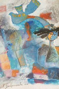 "Yoël Benharrouche, ""l'oiseau de mes pensees"", mixed media on paper, NEW PRICE!"