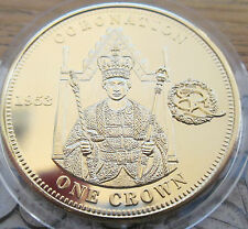 2012 QUEEN ELIZABETH II 1953 CORONATION PROOF CROWN TDC 22CT GOLD PLATED