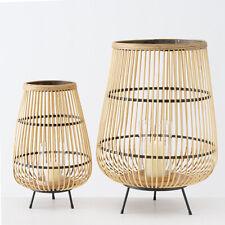 Windlicht INU 2er-Set Laterne aus Bambus Boho Shabby Chic Deko Vintage Landhaus