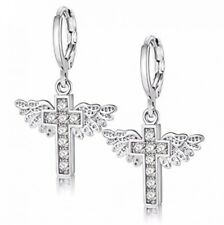 Uloveido Cubic Zirconia Brass Earings Platinum Plated 2018 Angel Wing And Cross