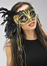 Black and Gold Sequin Feather Eye Mask