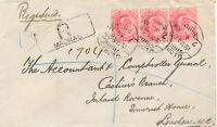 INDIA 1908 King Edward VII 1A. carmine (3x) rare multiple postage superb R-Cover