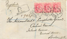 INDIA 1908 King Edward VII 1A. carmine (3x) rare multiple postage superb R-Cover