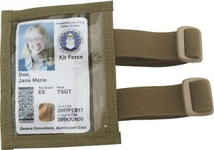 Military Arm ID Holder Adjustable Version with Elastic Tactical Tan Made in USA