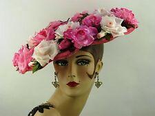 "VINTAGE HAT 1950 S Original Elsa Schiaparelli roses rose ""New Look"" large bord chapeau"