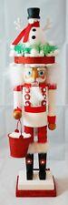 "Christmas Snowman Soldier Nutcracker Red White 18"" Wood Kurt Adler Hollywood"