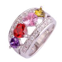 Amethyst & Pink White Topaz & Peridot Gemstone Silver Ring Size 6 7 8 9 10 11 12