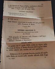 REGIO DECRETO - Concernente vendita sale pastorizio della Provincia di Roma -225