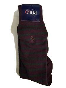 NWT Polo Ralph Lauren Men Socks Cotton Plum stripe