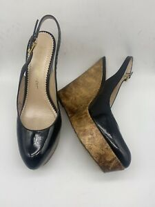 Jean-Michel Cazabat Talisa Black Patent Gold Slingback Wedge Heels 38.5 US 8.5