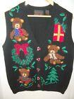 Women's Croft & Barrow Ugly Christmas Cardigan Sweater Vest~Teddy Bears~Sz MED