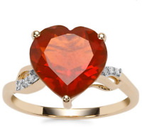 American Strawberry Fire Opal Heart & Diamond 10K Yellow Gold Ring Size N-O/7