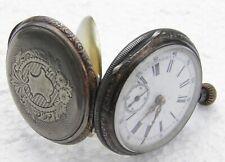 Vintage ECLIPSE Pocket Watch 800 Silver Case Ingersoll  AS IS
