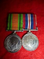 WW2 Canadian Military Medals, King George VI, Silver Miniature Medal Pair