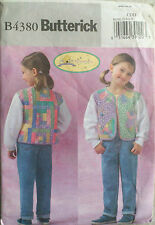 UNCUT SEWING PATTERN BUTTERICK 4380 SIZE 2 3 4 5 JACKET UNLINED QUILTED APPLIQUE