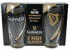 Guinness Pint Glasses Embossed Dual Pack from Ireland