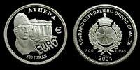 2001 Malta  Order of Athena  500 Liras  silber PP  Proof 1 oz .999 silver coin