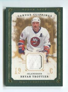 2008-09 UD Masterpieces Canvas Clippings jersey Green /85 Bryan Trottier Hockey