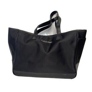 Calvin Klein Women's Black Large Canvas Tote Bag Gym Large Pockets Shoulder