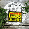 DECO Mini Wood Sign Ornament Gag Gift PROTECTED BY Ferrets Wire Hanger NEW USA