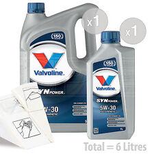 Car Engine Oil Service Kit / Pack 6 LITRES Valvoline SynPower FE 5w-30 6L