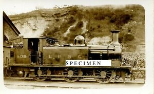 LBSCR Stroudley Class E1 No608 at Redhill loco shed 8/3/25 - old photo postcard.