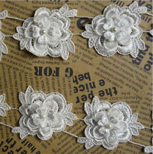 5x Vintage Flower Pearl Lace Edge Trim Wedding Ribbon Applique DIY Sewing Craft