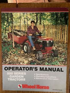 1988 Wheel Horse 500 Series Operator Manual Toro Very Good Condition