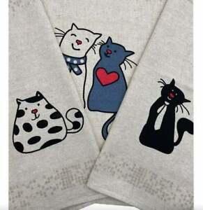 Set 3 Kitchen tea towels big linen cotton soft Housewarming Cat lover gift NEW