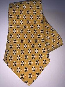 "Hugo Boss Yellow Retro Geometric Starburst Pattern Silk Tie 57.5""L x 3.5""W EUC"