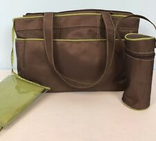 Baby Boom Diaper Bag Tote Set Changing Pad Bottle Holder 3 Pocket Brown Green