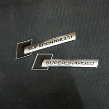 2x Small Black SUPERCHARGED Chrome Metal Emblem Badge Sticker Engine Sport Motor