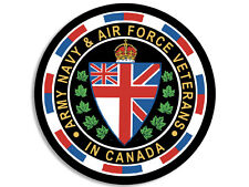 4x4 inch ROUND Canadian Army Navy Air Force VETERANS Seal Sticker - canada vet