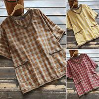 ZANZEA Women Short Sleeve V Neck Tops Plaid Check Casual Loose Shirt Blouse Plus