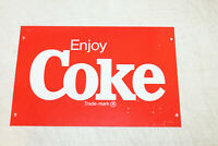 Vintage Coca Cola Enjoy Coke Trade Mark Plastic Sign Original 8'' x 12''