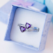 Heart To Heart Romantic 6 Colors Gemstone Women 925 Silver Wedding Ring Size6-10