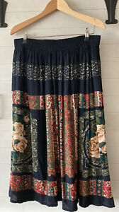 Carol Little Petites Floral Print Skirt Rayon Multicolor Size 12