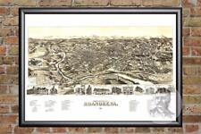 Vintage Roanoke, VA Map 1891 - Historic Virginia Art - Old Victorian Industrial