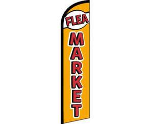 Flea Market Orange / Red Windless Banner Advertising Marketing Flag 100D