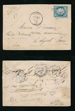 FRANCE 1874 TPO + REDIRECTED LC2 OVALS + LC3 OVALS SAINS to LA CHAPELLE