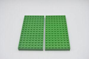 LEGO 2 x Bauplatte Stein Grundplatte dick 16x8 Noppen grün Green Brick 8x16 4204