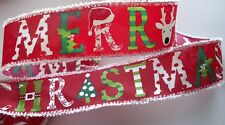 """2.5"""" Merry Christmas Red Snow Wired Ribbon 7 Yards"""