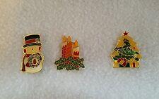 Lot 3 Christmas Pins- Snowman, Candles, and Christmas Tree